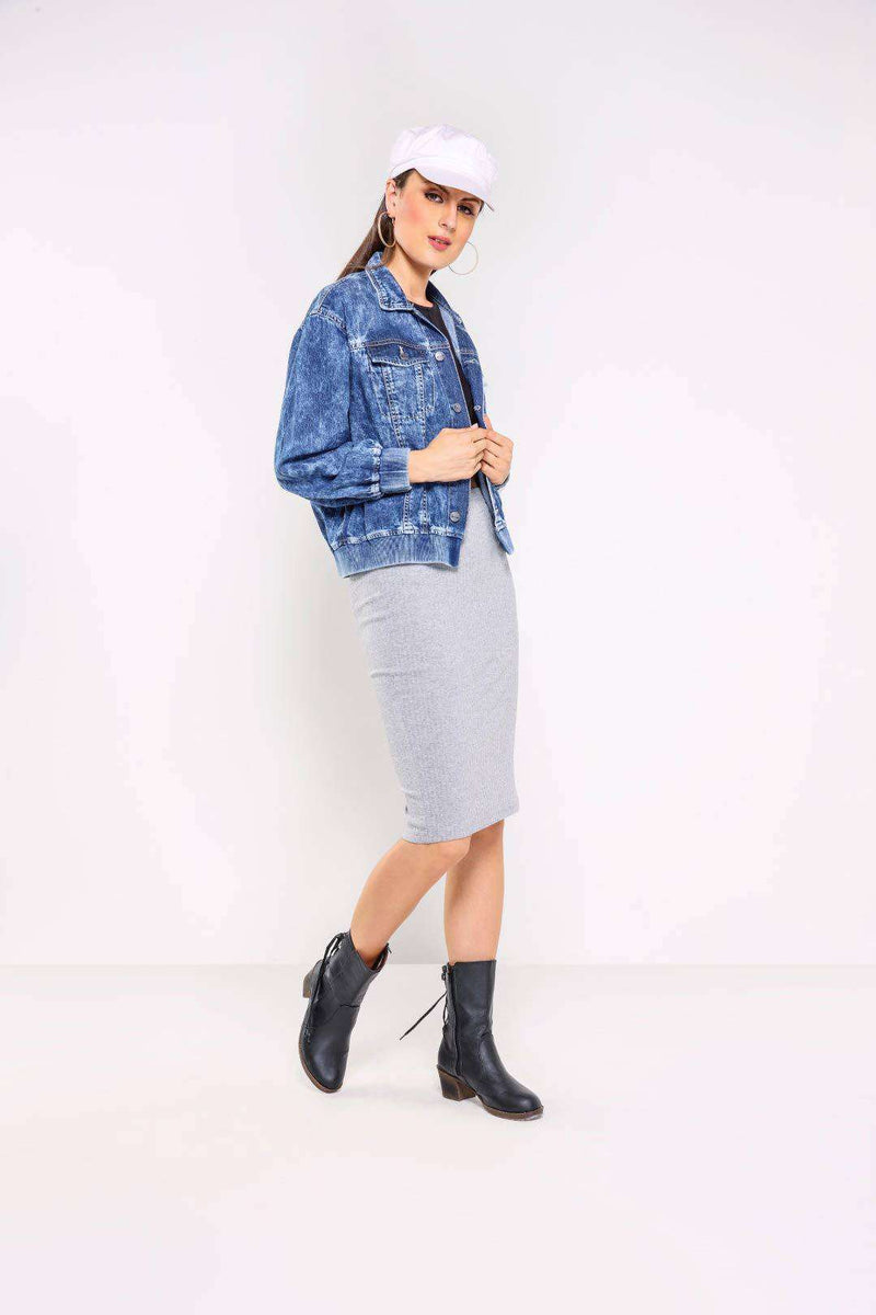Mid Blue elasticated waistband denim jacket with contrast sleeve - FREAKINS