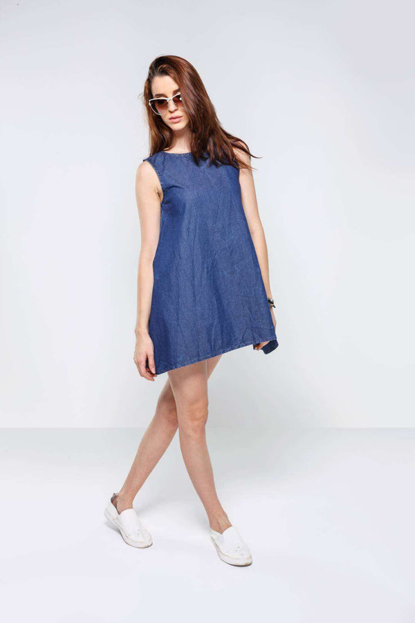 Mid Blue A-line sleeveless denim dress - FREAKINS