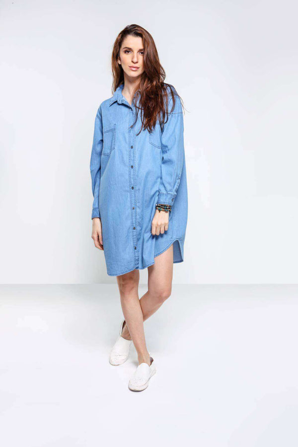 Light Blue over sized denim Dress - FREAKINS