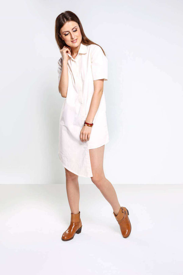 Off white Short Sleeve Asymmetric Dress