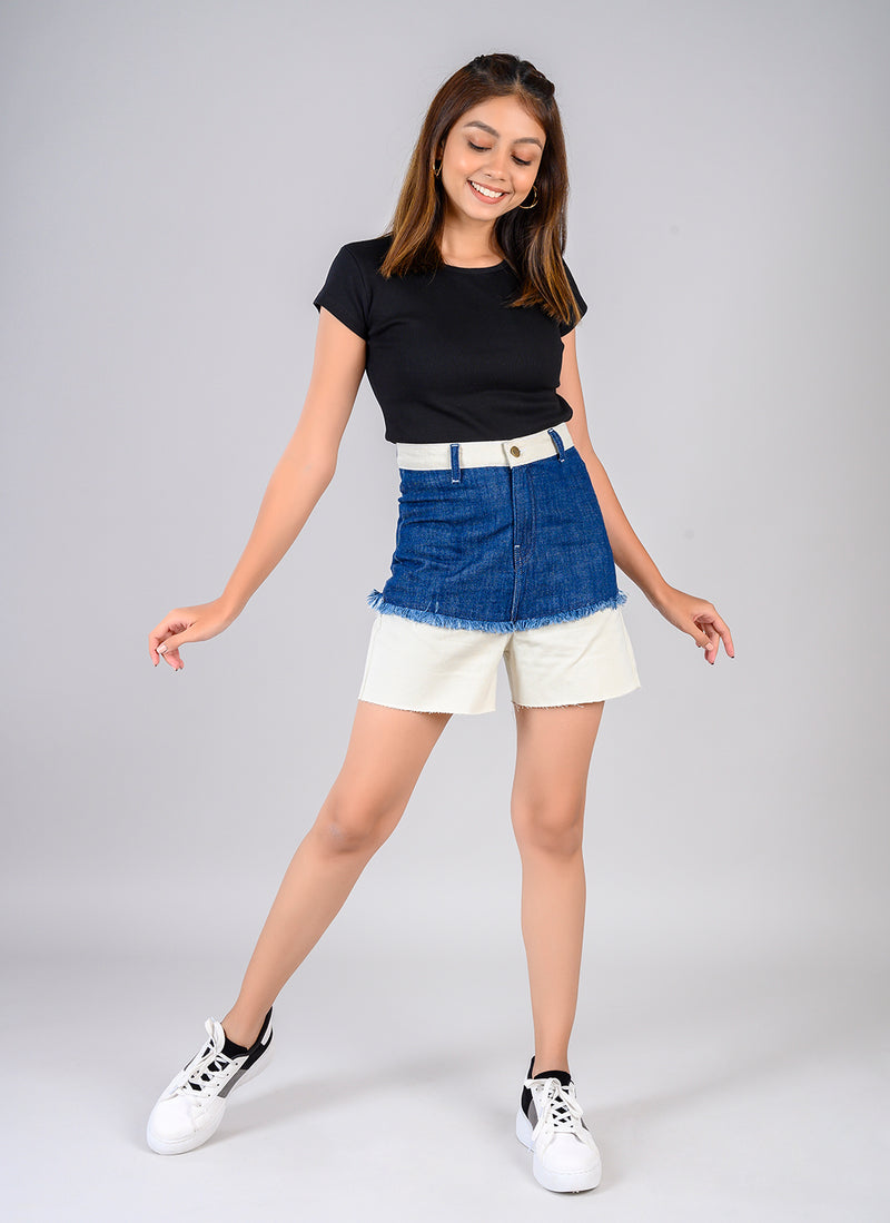 TWO TONE DENIM HIGH WAIST SHORTS