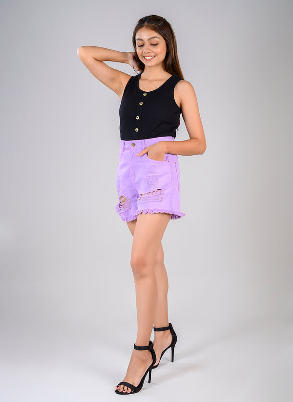 LILAC HIGH WAIST SHORTS WITH HEAVY DISTRESS