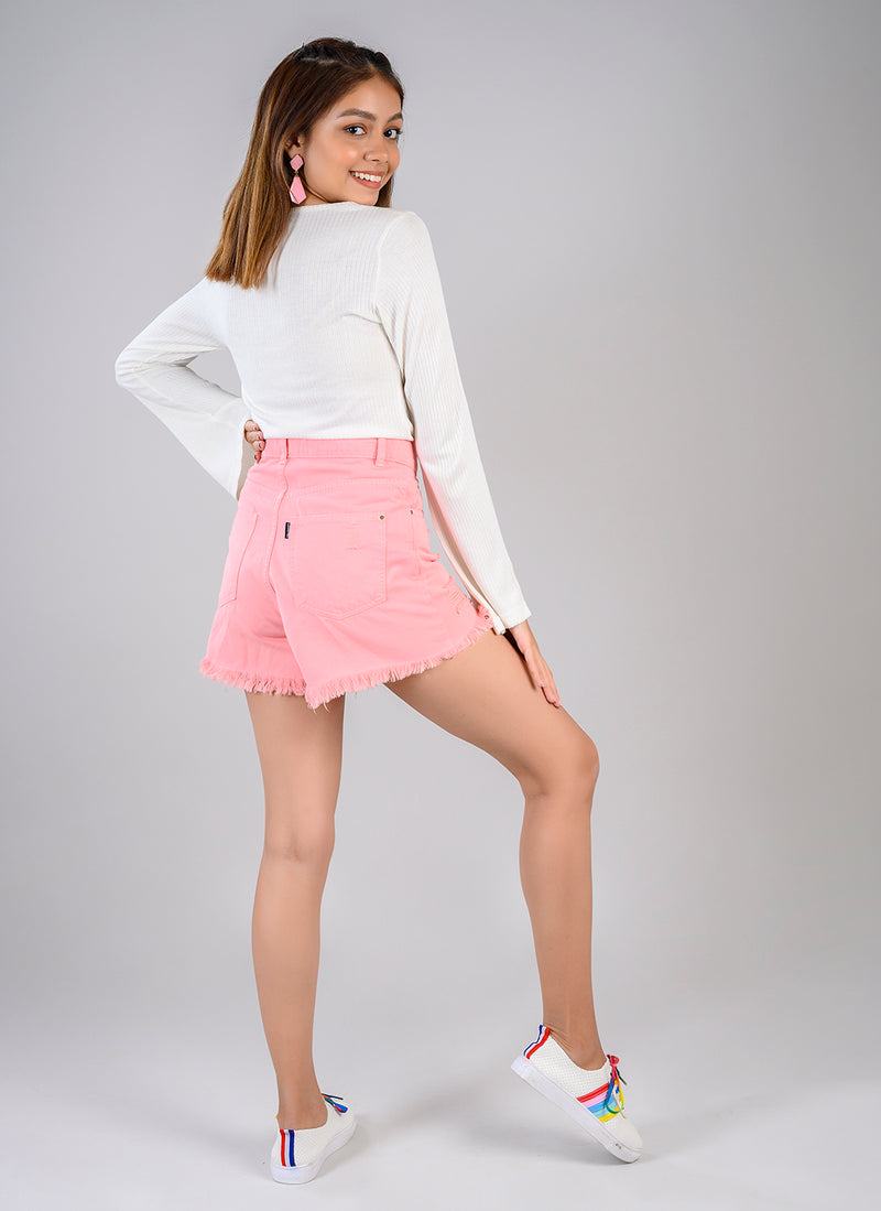 CANDY PINK HIGH WAIST DISTRESSED SHORTS