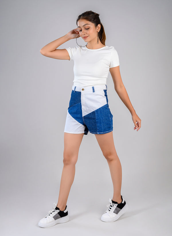 PATCH DENIM HIGH WAIST SHORTS