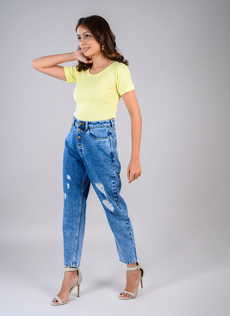 HIGH WAIST CARROT FIT JEANS WITH LIGHT DISTRESS