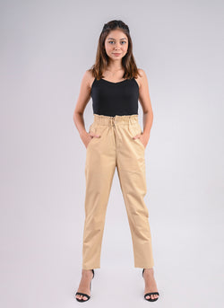BREEZY PANTS IN BEIGE WITH PAPERBAG WAIST