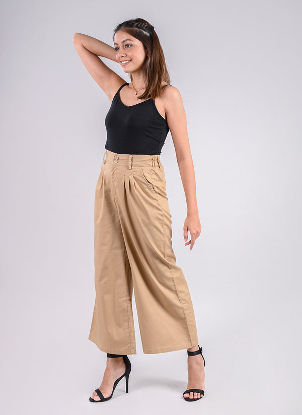 PLEATED PALAZZO PANTS IN BEIGE