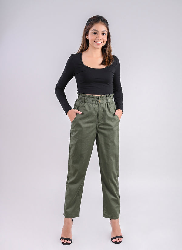BREEZY PANTS IN OLIVE WITH PAPERBAG WAIST