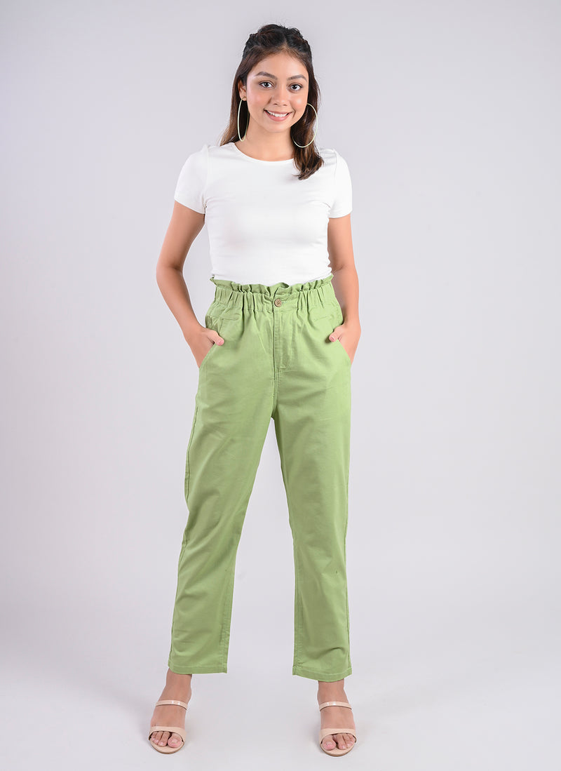 BREEZY PANTS IN MINT GREEN WITH PAPERBAG WAIST