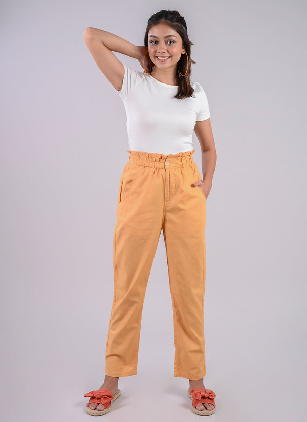 BREEZY PANTS IN MUSTARD WITH PAPERBAG WAIST