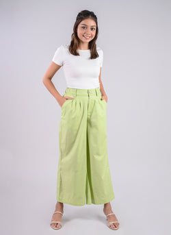 PLEATED PALAZZO PANTS IN LIME GREEN