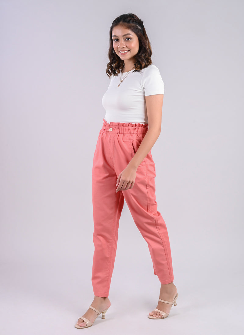 BREEZY PANTS IN PINK WITH PAPERBAG WAIST