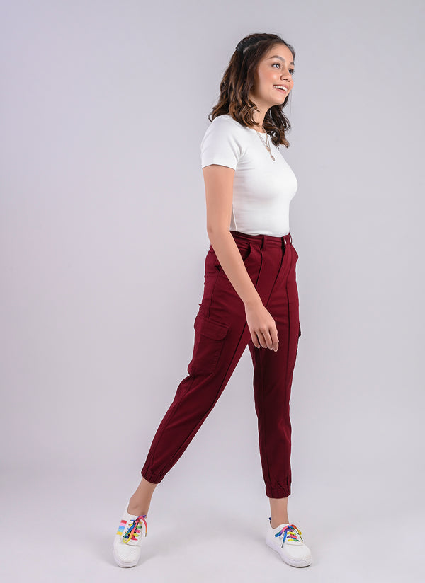 UTILITY CARGO JOGGER IN WINE