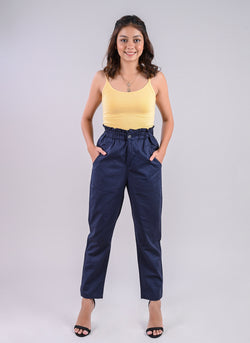 BREEZY PANTS IN NAVY WITH PAPERBAG WAIST