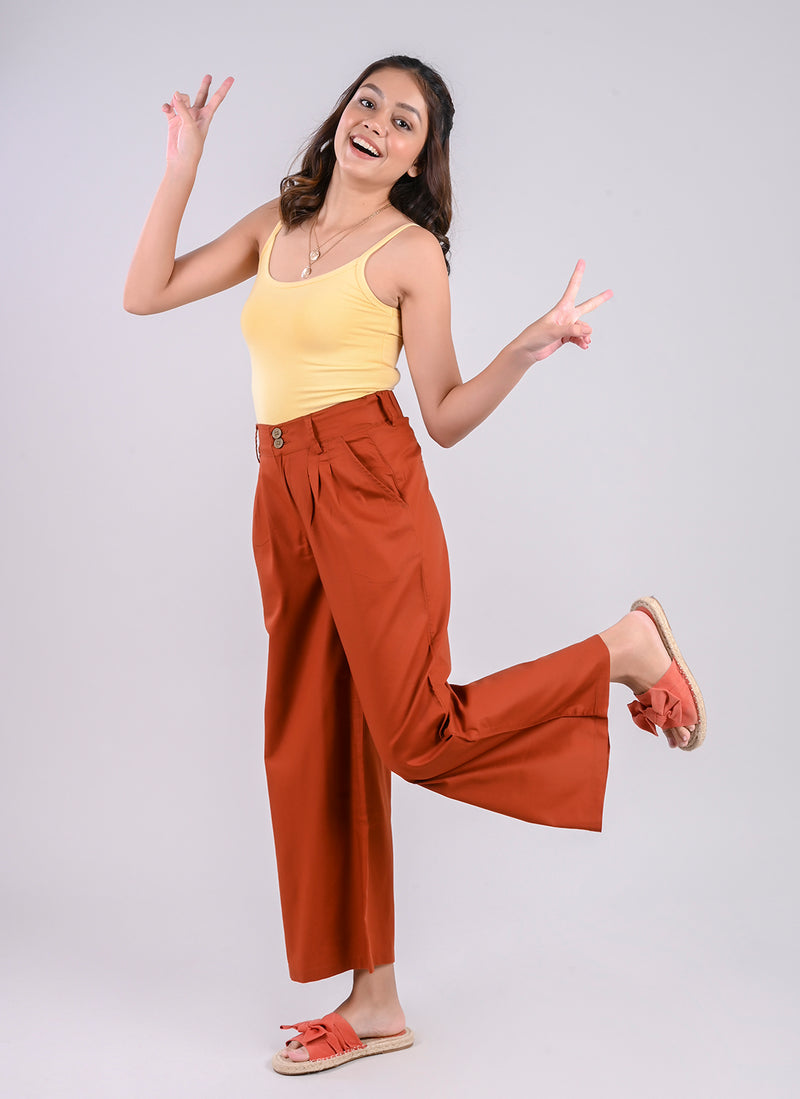 PLEATED PALAZZO PANTS IN PUMPKIN SPICE