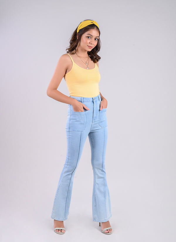 BELL BOTTOM JEANS IN PASTEL BLUE