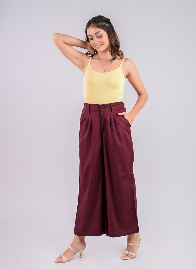 PLEATED PALAZZO PANTS IN WINE