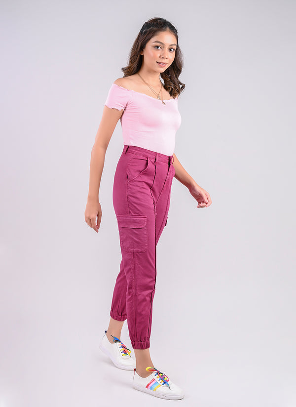 UTILITY CARGO JOGGER IN FUCHSIA PINK