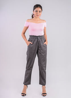 BREEZY PANTS IN GREY WITH PAPERBAG WAIST
