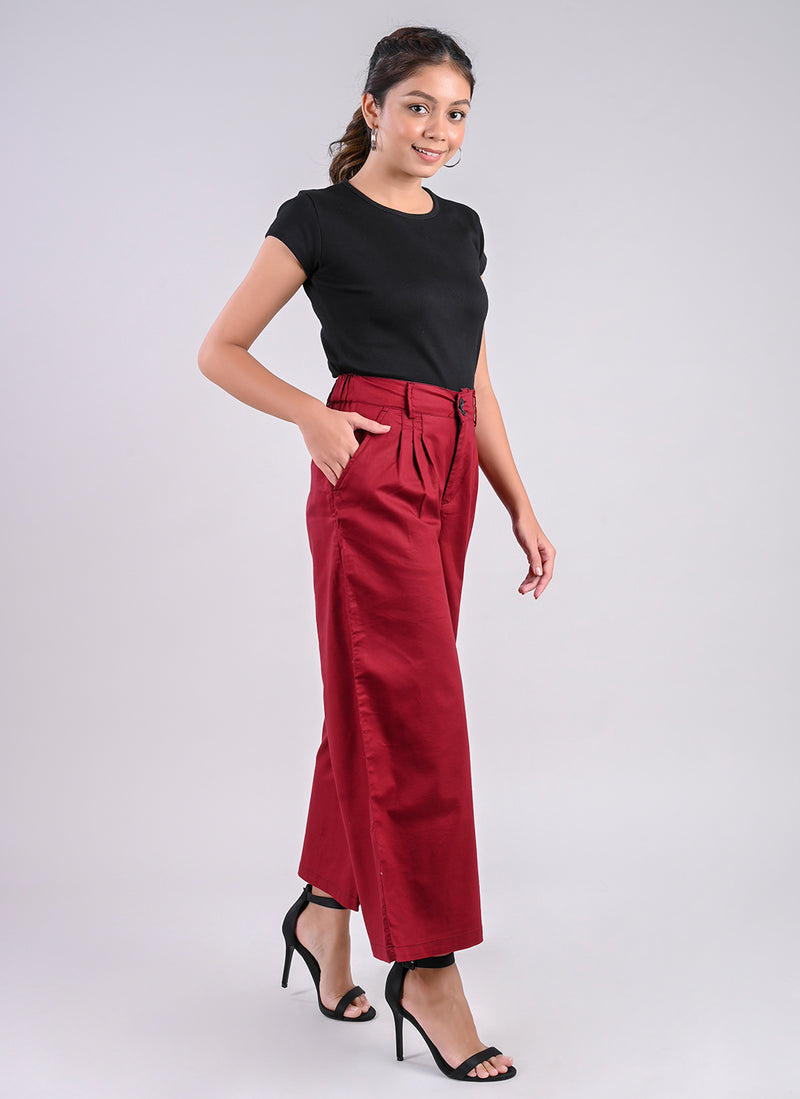 PLEATED PALAZZO PANTS IN ROSEWOOD