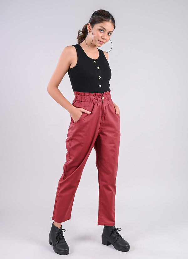 BREEZY PANTS IN BRICK RED WITH PAPERBAG WAIST