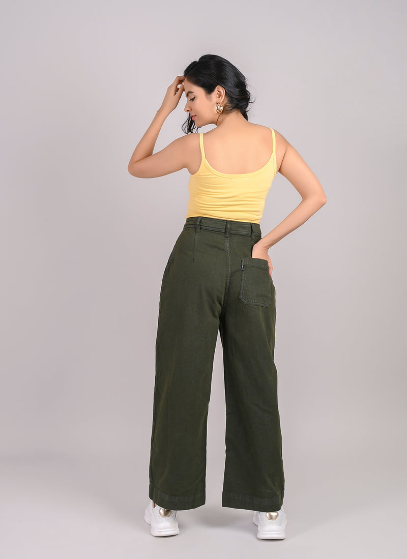 OLIVE STRAIGHT FIT JEANS