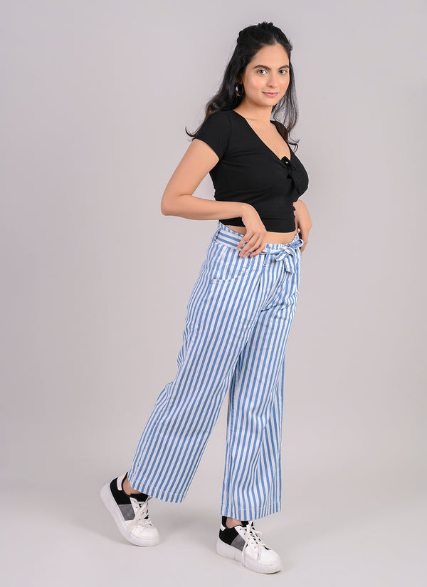 PARALLEL BOLD STRIPE PANTS WITH BELT