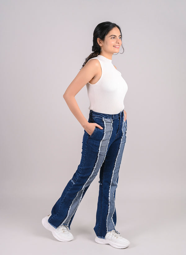 ECO-WASHED PANELLED JEANS