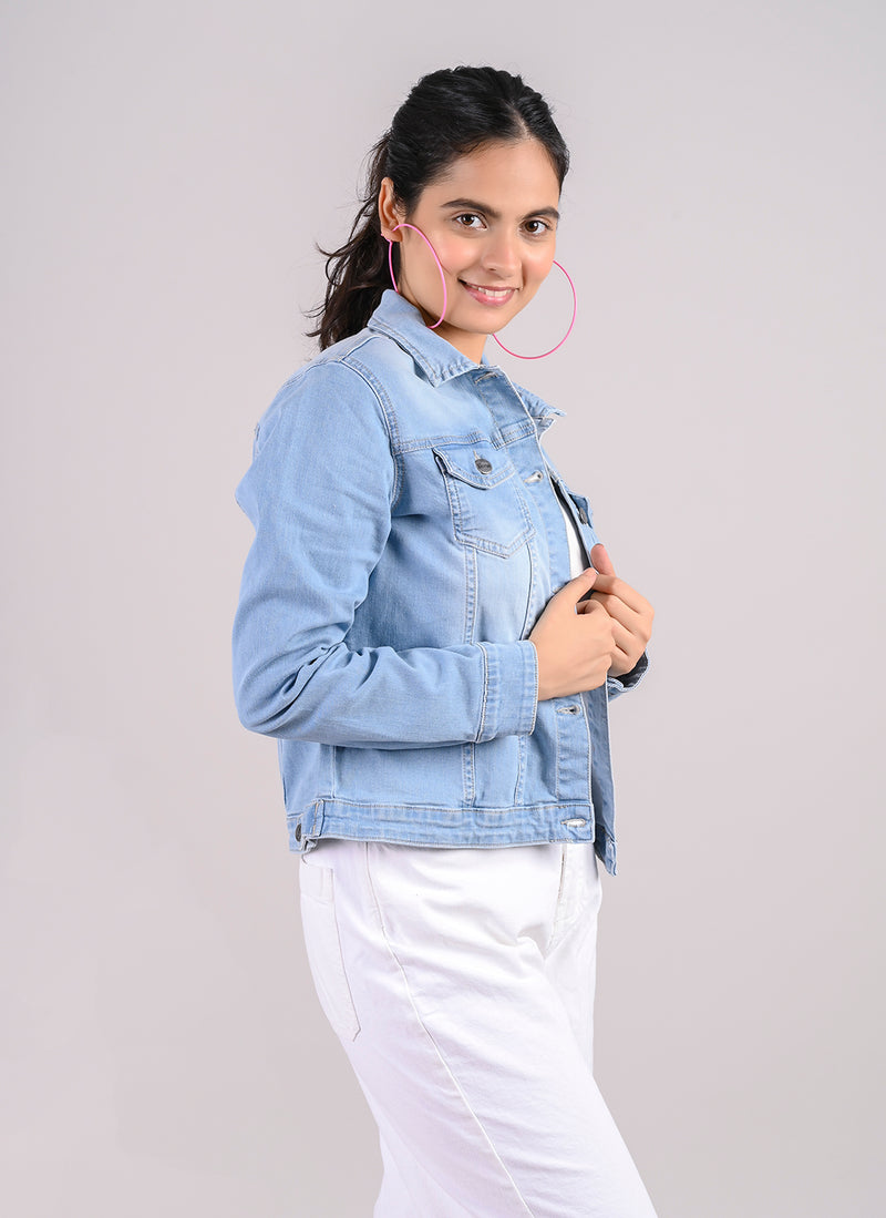 LIGHT BLUE BASIC DENIM JACKET