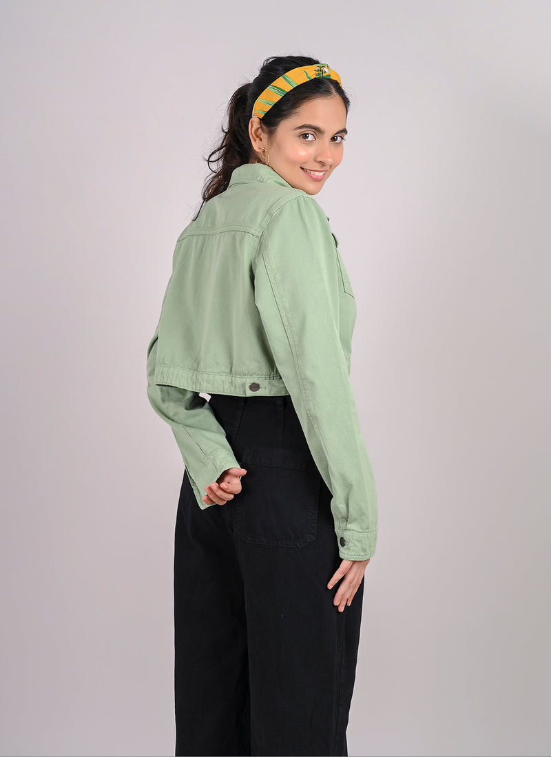 DUSTY GREEN CROPPED DENIM JACKET