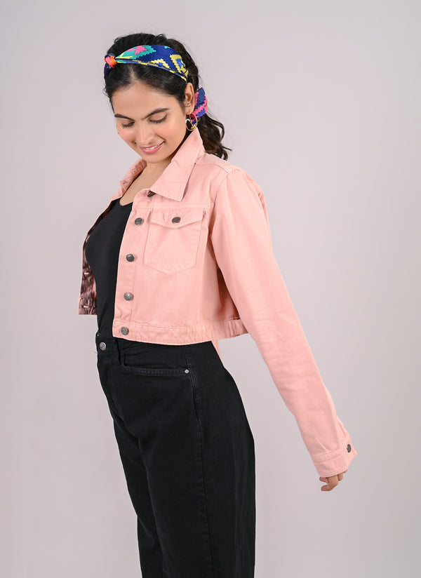 POWDER PINK CROPPED DENIM JACKET