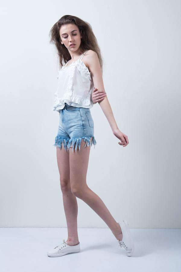 LIGHT BLUE DENIM FREY EDGE HIGH WAIST SHORTS - FREAKINS