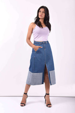 STM Reverse panelled denim full length skirt