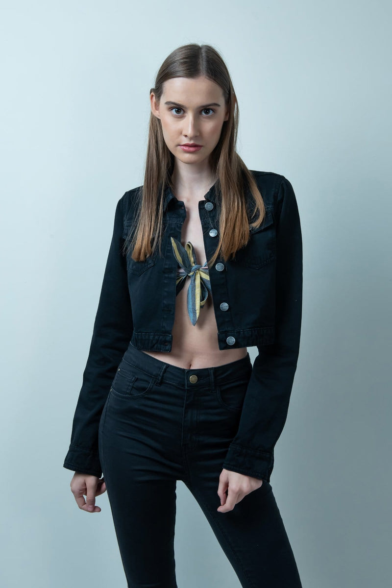 BLACK DENIM CROPPED JACKET - FREAKINS