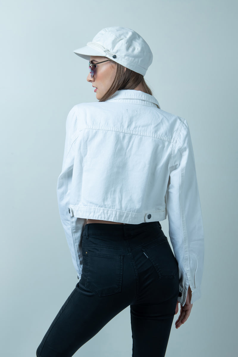 WHITE CROPPED DENIM JACKET