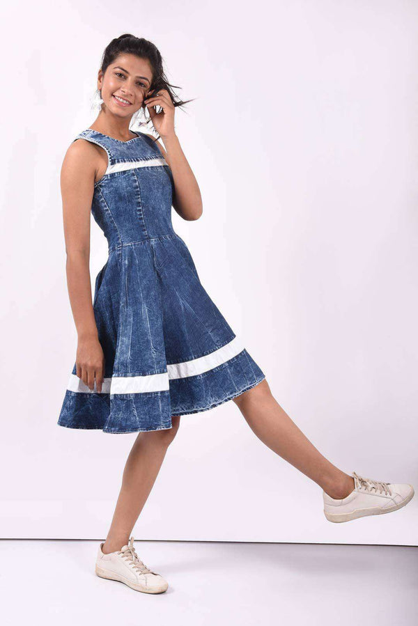 White panelled denim flared dress