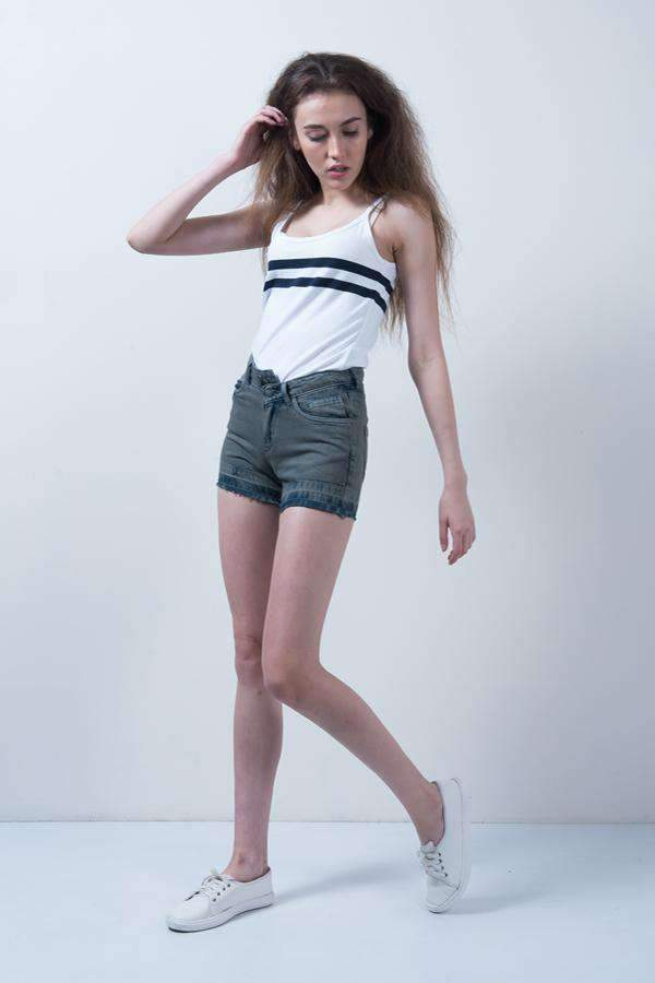 OLIVE DENIM HIGH WAIST BUTTON UP SHORTS