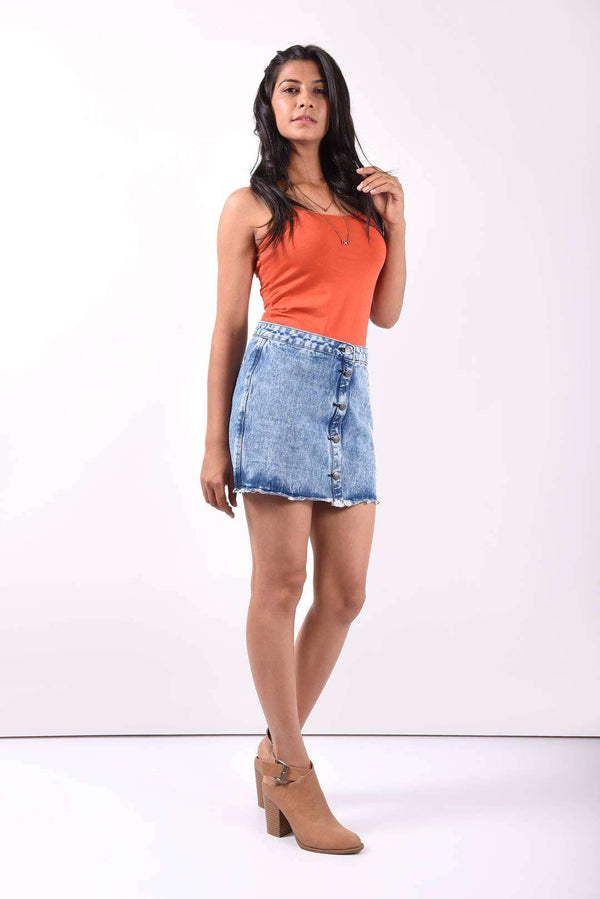 Embroidered denim high rise skirt - FREAKINS