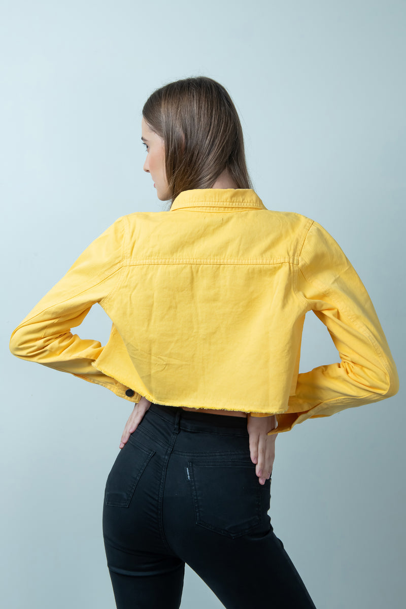YELLOW DENIM RAW HEM CROPPED JACKET