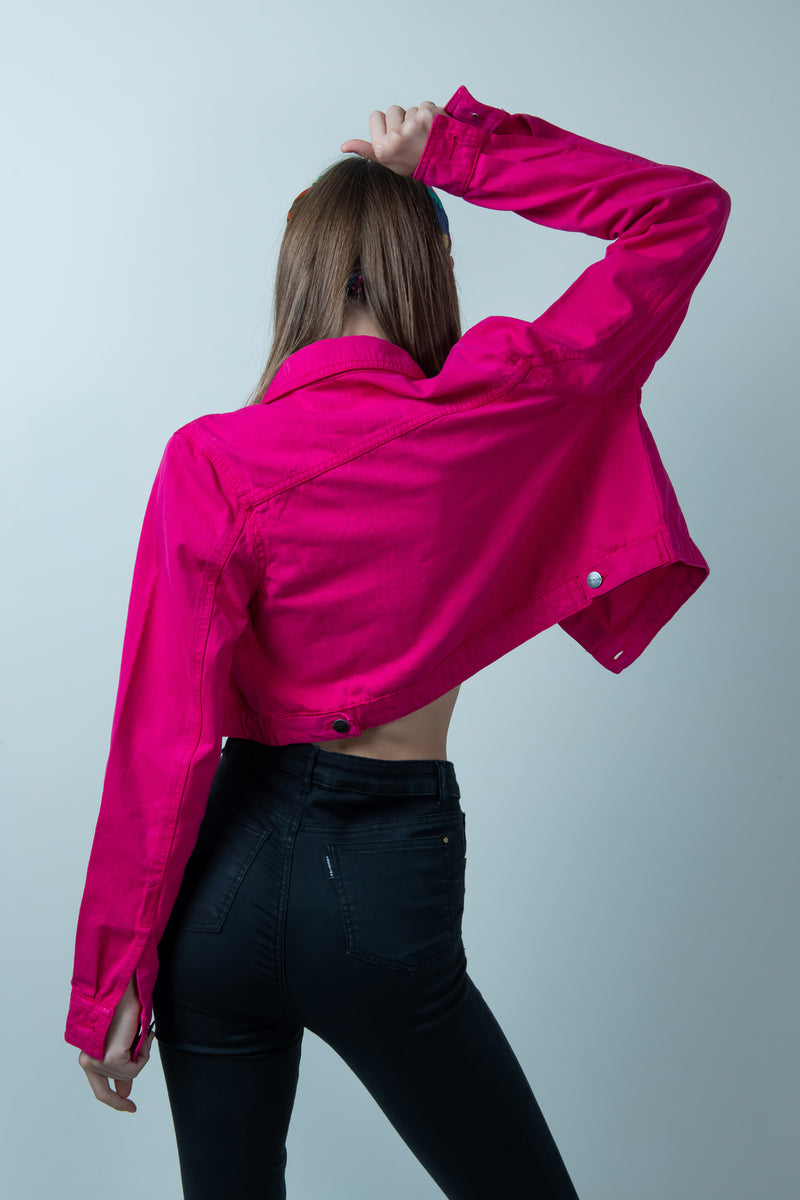 STM HOT pink denim cropped jacket