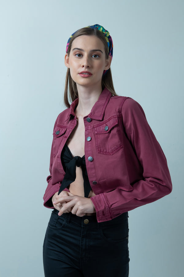 MAROON DENIM RAW HEM CROPPED JACKET