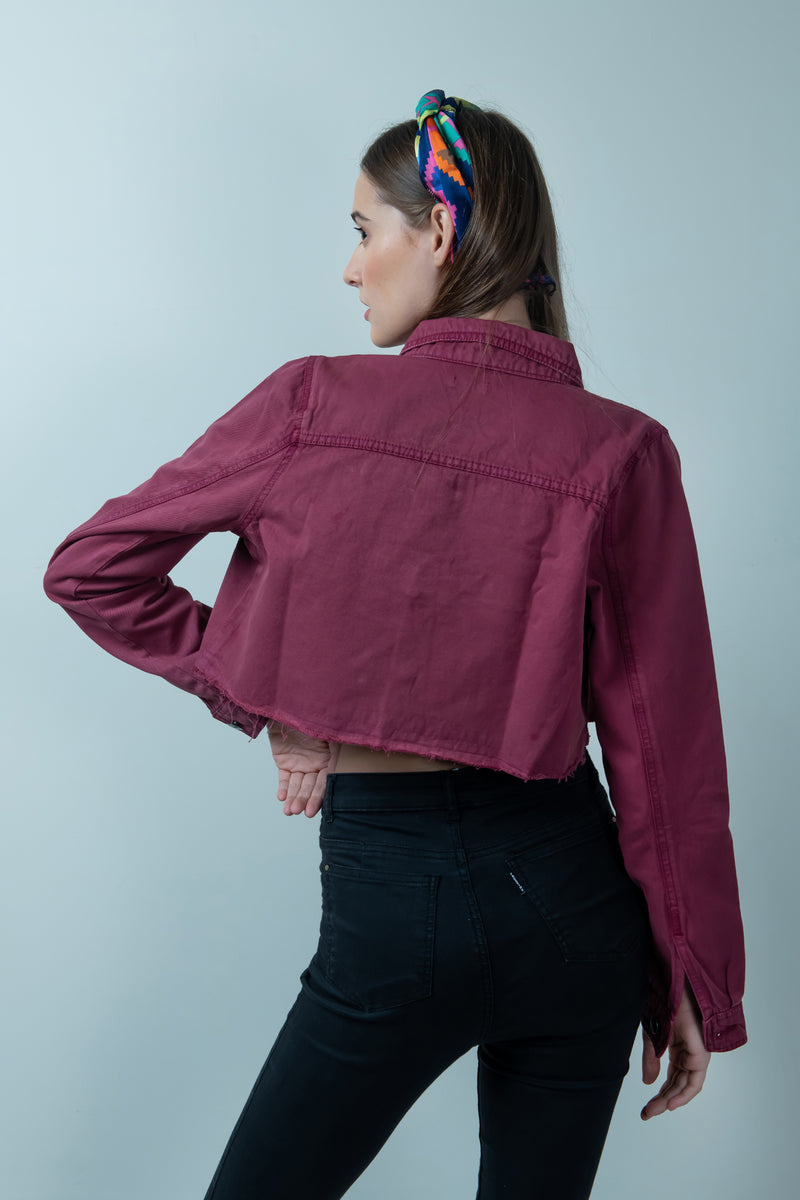 MAROON DENIM RAW HEM CROPPED JACKET - FREAKINS