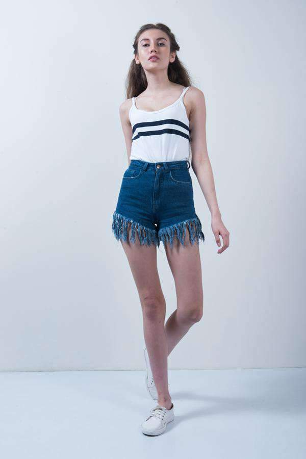 DARK BLUE DENIM FRILL SHORTS