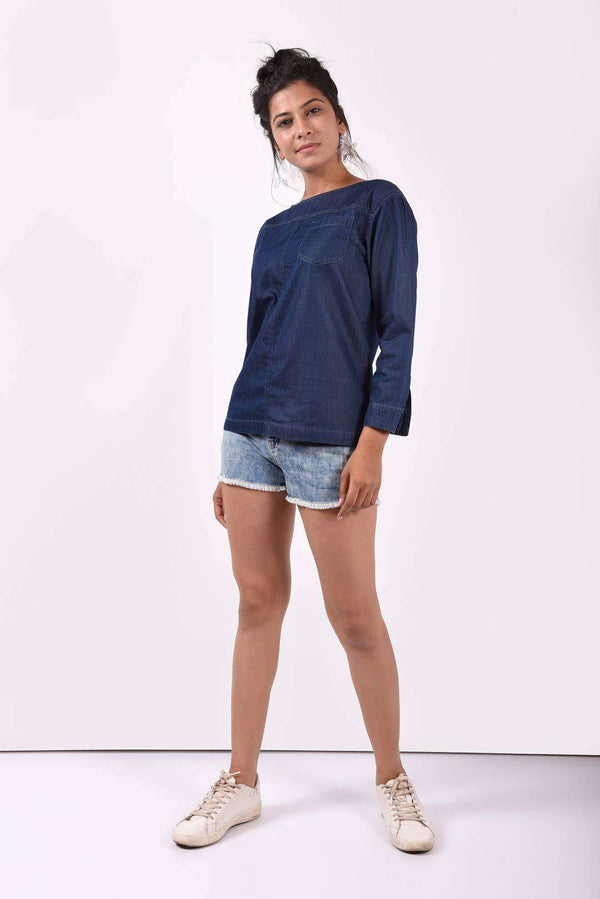 Dark blue boat neck denim top - FREAKINS
