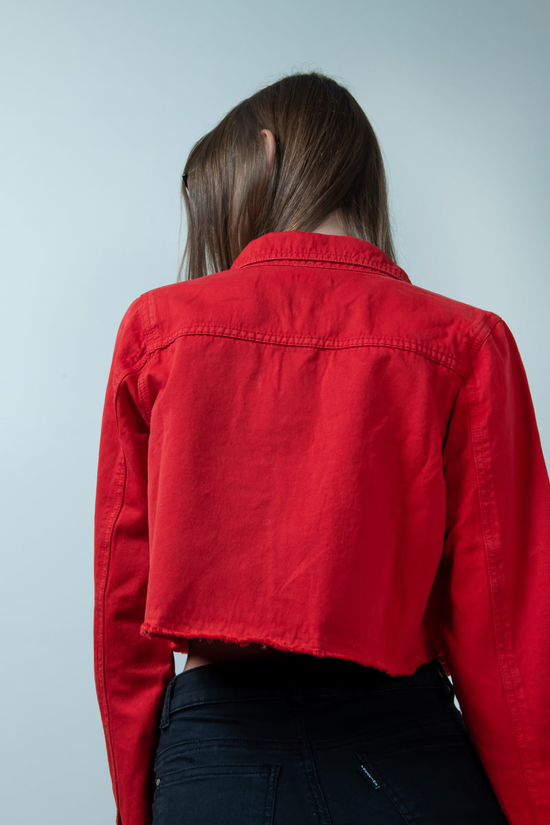 HOT RED DENIM RAW HEM CROPPED JACKET