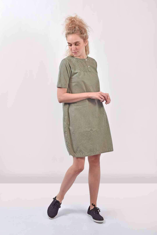 Olive denim dress