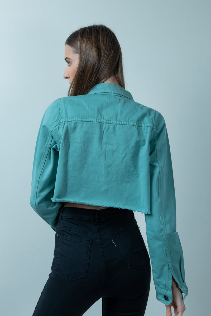 TEAL DENIM RAW HEM CROPPED JACKET