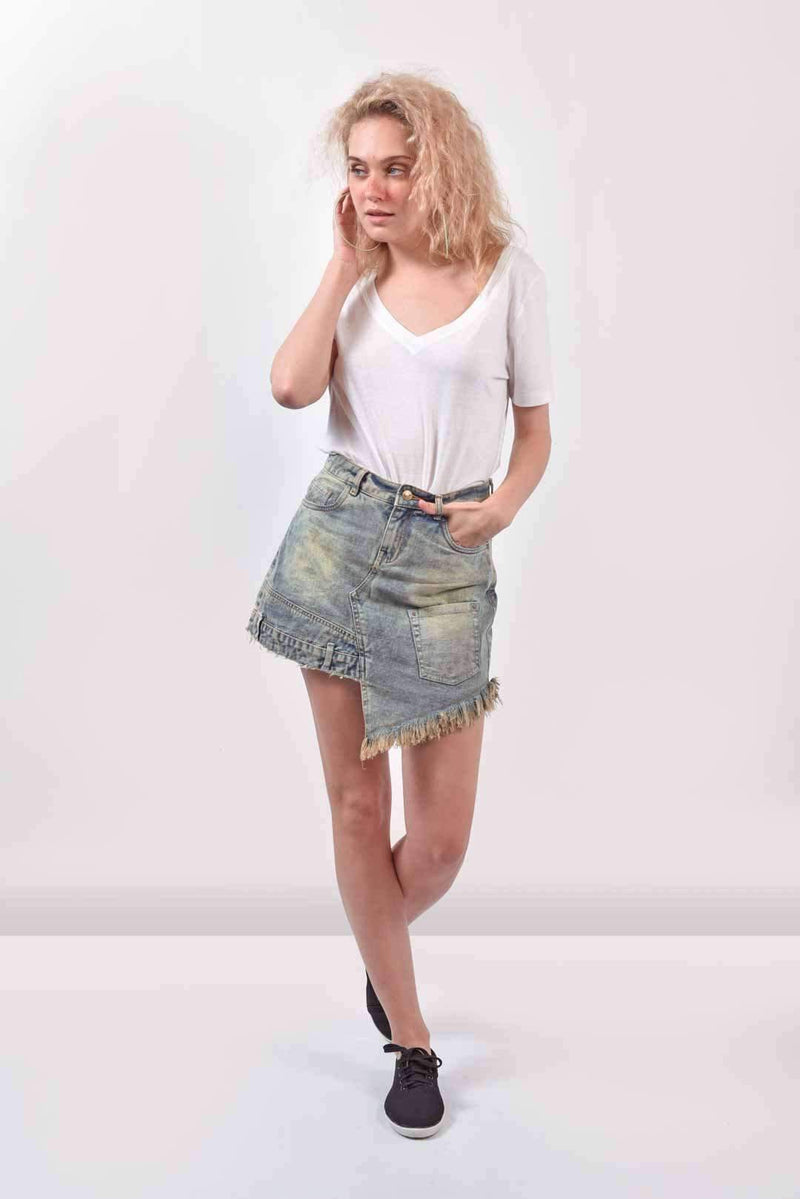 Vintage washed denim patched skirt