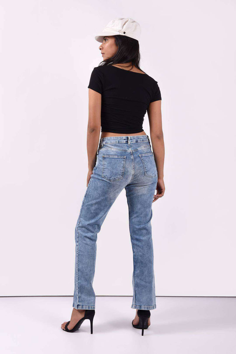 Exposed zipper front slit denim skinny fit jeans - FREAKINS