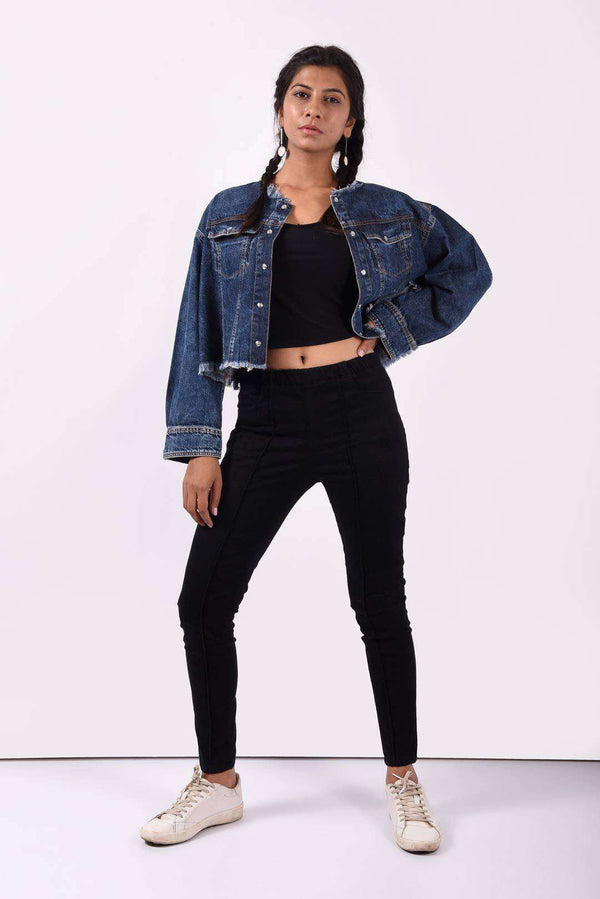 oversized denim crop jacket
